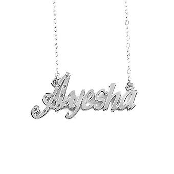 """L Ayesha - 18-carat White Gold Plated Necklace, with Custom Name, Adjustable Chain of 16""""- 19"""", in Regal Packaging"""