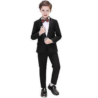 130Cm meninos pretos coloridos ternos formais 5 peça slim fit dresswear set x2409