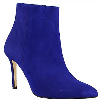 Leonardo Schuhe Damen handgemachte spitze Zehen High Heels Stiefeletten aus blauem Wildleder