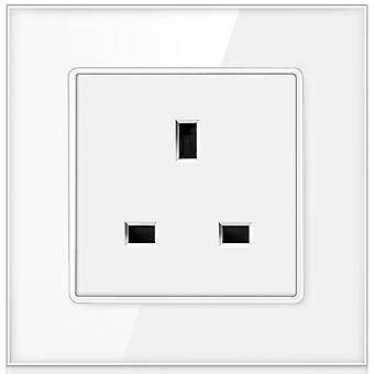 13a Uk Standard Crystal Glass Panel Wall Power Socket Grounded