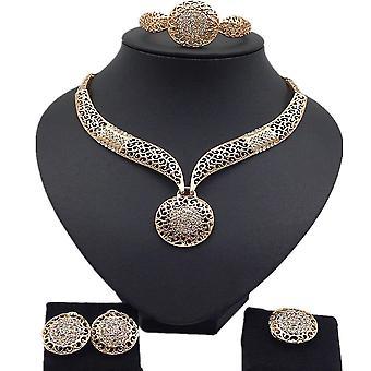 4pcs smykker Sæt Golden Legering Kvinder halskæde øreringe armbånd ring til bryllup