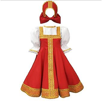 Russsian Dress Dance Costume Hagyományos viselet Piros Sarafan fehér blúz(XL 145-160cm)