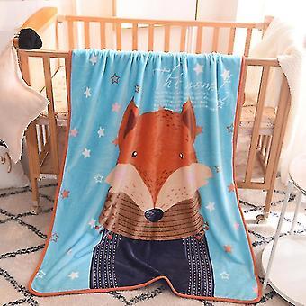 Babies Children Blanket 100x140cm Cartoon Cute Throw Kids Pet on Crib Plane Sofa Bed Crib Use(Blue