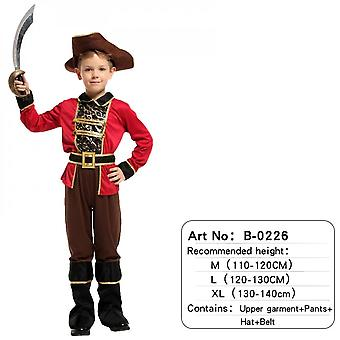 Children's Pirate Costume With Shoes, Hat And Belt Men's And Women's Clothing Pirates Of The Caribbean Captain Set-(b0226)