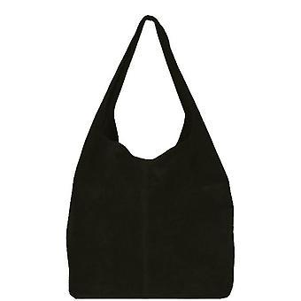 Čierna mäkká koedová hobo taška na rameno