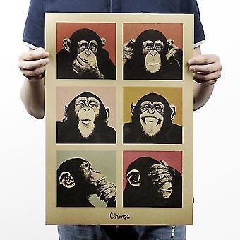 Gorilla Bar Teller Versiering Vintage Kraft Papieren Poster