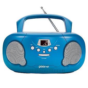 Groov-e GVPS733BE Original Boombox Portátil CD Player com Radio Blue UK Plug