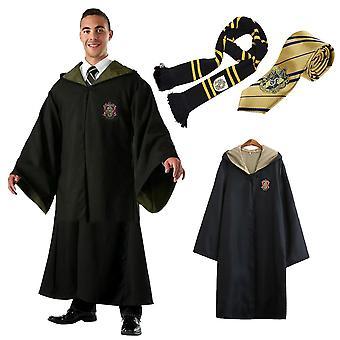 Adult Mens Womens Wizard Harry Potter Fancy Dress Cloak Costume Cosplay 3 PC Set
