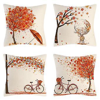 Packung mit 4 Kissenbezügen Goldener Herbst Bäume Blattschirm Muster Baumwolle Leinen Werfen Kissenbezüge Kissenbezüge 18x18 Zoll