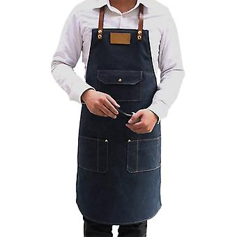 Șorț de lucru durabil, denim de gatit șorț cu buzunare Heavy Duty Unisex Salopete din denim pentru Pictor Restaurant Cafe Bbq
