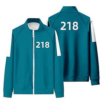 イカゲームマーチパーカー218スウェットシャツジャケットコットンフリースクロスカジュアルストリートウェアプルオーバー