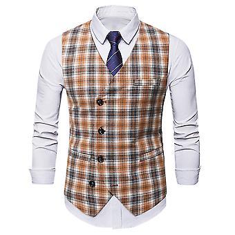 Silktaa Men's Plaid Vest V-neck Single-breasted Business Gentleman Vest