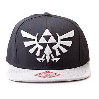Nintendo Legend of Zelda Twilight Princess broderade Royal Crest logotyp Unisex Snapback Baseball Cap One Size svart/grå (BA180123NTN)