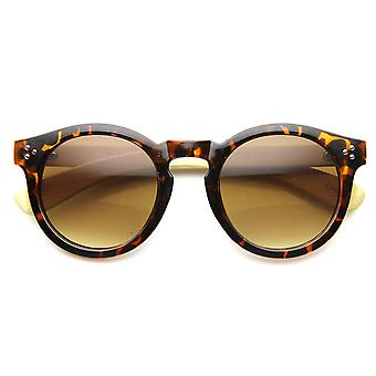 Eco-Friendly Genuine Bamboo Horned Rim P3 Key Hole Studded Round Sunglasses