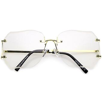 Oversize Rimless Square Glasses Slim Metal rams Beveled Clear Lens 61mm