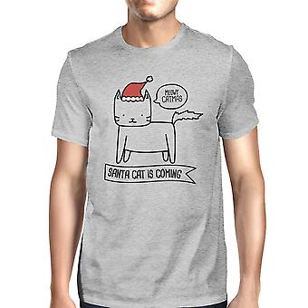 Meowy Catmas Santa kat er kommer Funny jul gave skjorte til mænd