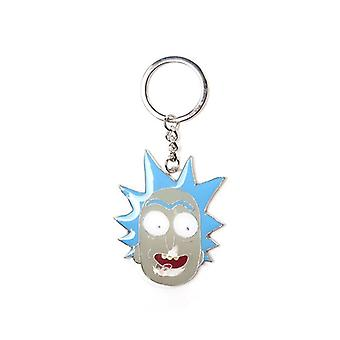 Rick And Morty Rick Big Face Pendant Metal Keychain Blue/Grey Keyring