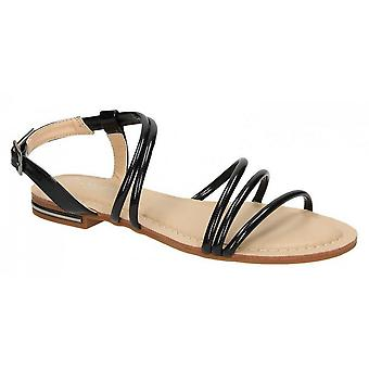 Savannah Womens/Ladies Flat Strappy Summer Sandals With Slingback Buckle