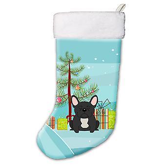 Merry Christmas Tree French Bulldog Black Christmas Stocking