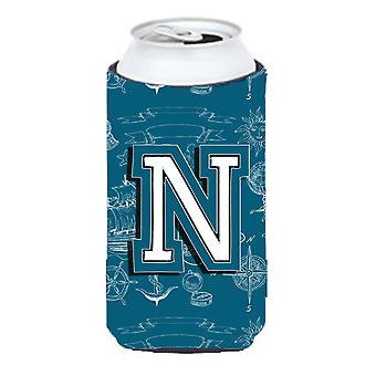 Letter N Sea Doodles Initial Alphabet Tall Boy Beverage Insulator Hugger
