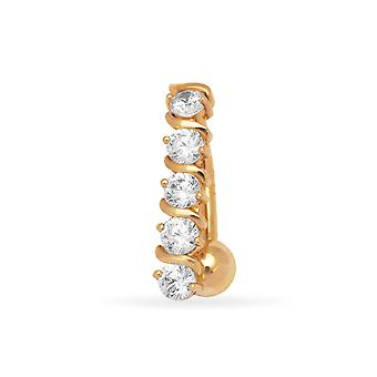 14k Yellow Gold CZ Cubic Zirconia Simulated Diamond 14 Gauge Fancy Body Jewelry Belly Ring Measures 21x5mm Jewelry Gifts