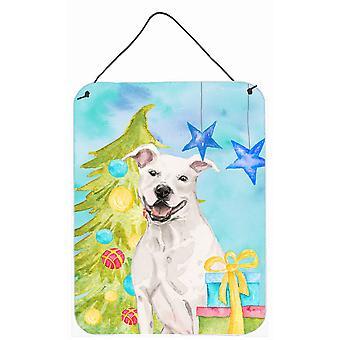 Weiße Staffie Bullterrier Weihnachten Wand oder Tür hängen Drucke