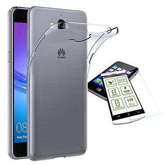 Silikoncase transparent + 0.3 H9 tempered glass for Huawei Y6 2017 bag shell new