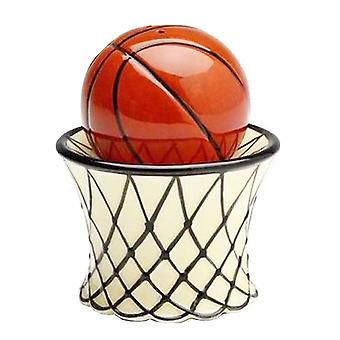 Sports Fan Basketball and Hoop Net Salt and Pepper Shakers Set