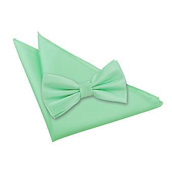 Mint Grün solide Check Fliege & Einstecktuch Satz