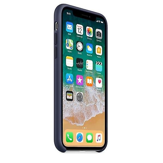 Packaging MQT32ZM/A Apple silicone Micro Fiber cover case for iPhone X - midnight blue