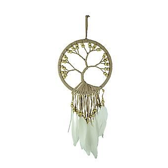 Tan Tree of Life Beaded and Feathered Hanging Dreamcatcher
