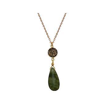 GEMSHINE naszyjnik z Jade i smoky Quartz 925 srebrny pokryty na 60 cm łańcucha.