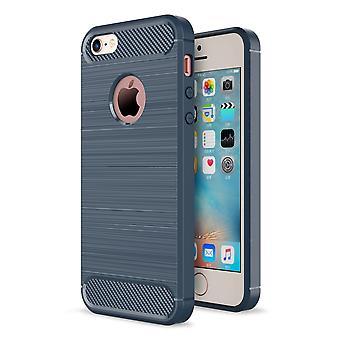 Apple iPhone 5 / 5 s / SE omslaget TPU case silikon täcka mobila stötfångare carbon look blå