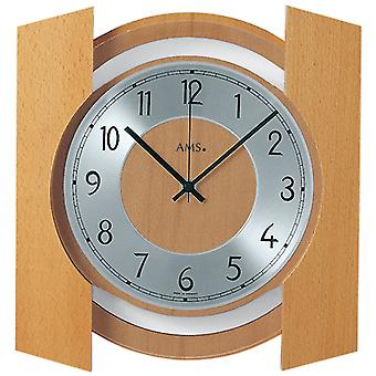 Radio controlled wall clock radio clock wall clock radio housing solid wood beech