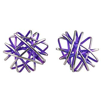 Ti2 Titanium Round Cage Chaos Stud Earrings - Imperial Purple