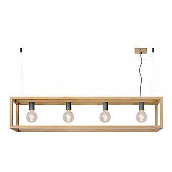Lucide Oris Industrial Rectangle Metal Light Wood Pendant Light