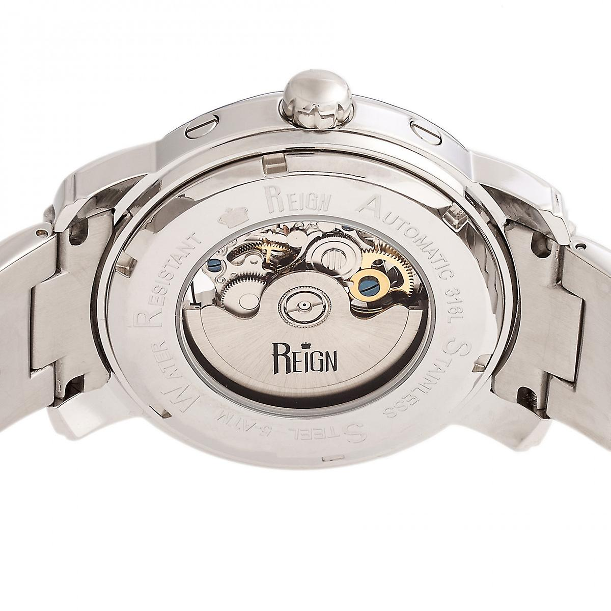 Reign Kahn Automatic Skeleton Bracelet Watch - Silver