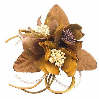 Bridal Hair Accessories Wedding Dress Brooch Pin In Latte & Gold Color