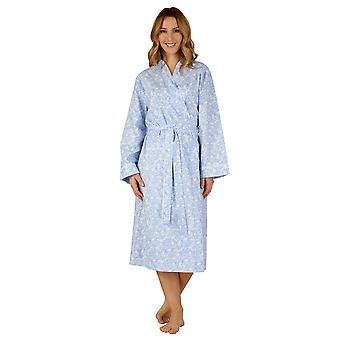 Slenderella HC3215 Women's Cotton Woven Dressing Gown Loungewear Bath Robe Kimono