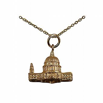 9ct Gold 15x19mm hollow St. Paul's Cathedral Pendant with a cable Chain 20 inches