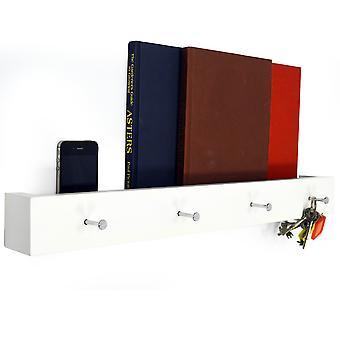 Ellis - pared montada 2ft / 40cm 4 capa gancho estante flotante / almacenamiento de baño - blanco