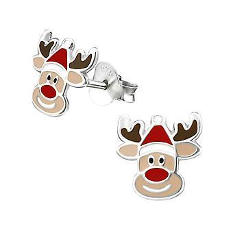 Renne mignon Noël en argent sterling boucles d'oreilles