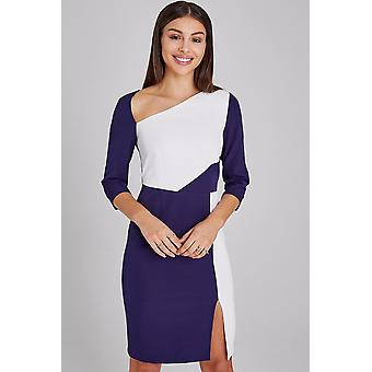 Paper Dolls Hurley Navy And White Colour Block Dress