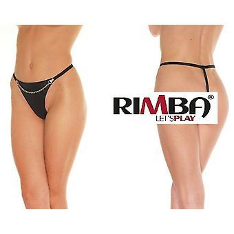 Rimba Lingerie' zwart leder slip met Front ketting (R124)