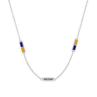 Rollins College Sterling Silver Engraved Triple Station Necklace In Blue & Yellow