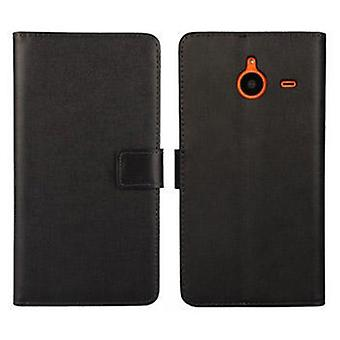 Wallet Case Microsoft 640 XL, genuine leather, black