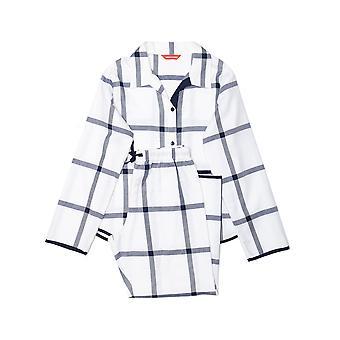 Minijammies 5489 Girl's Emily White Mix Check Cotton Pyjama Set