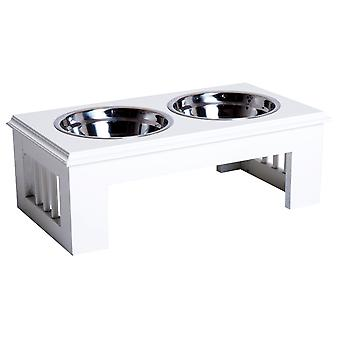 PawHut Pet Bowl Duo Dog Feeder Elevated Base Cat Puppy Stainless Steel Bowls Stand Food Water Samll White