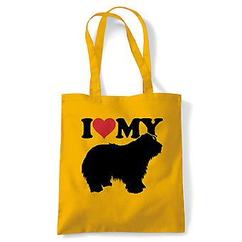 I Love My Bearded Collie Tote - Reusable Shopping Canvas Bag Gift