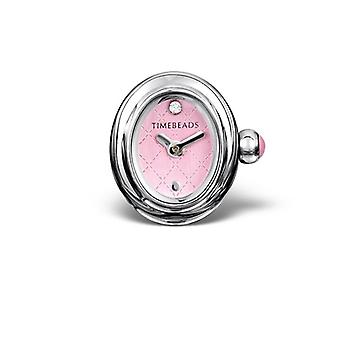 Timebeads Pink Oval Watch Charm with Clip Fastening TB2012PK